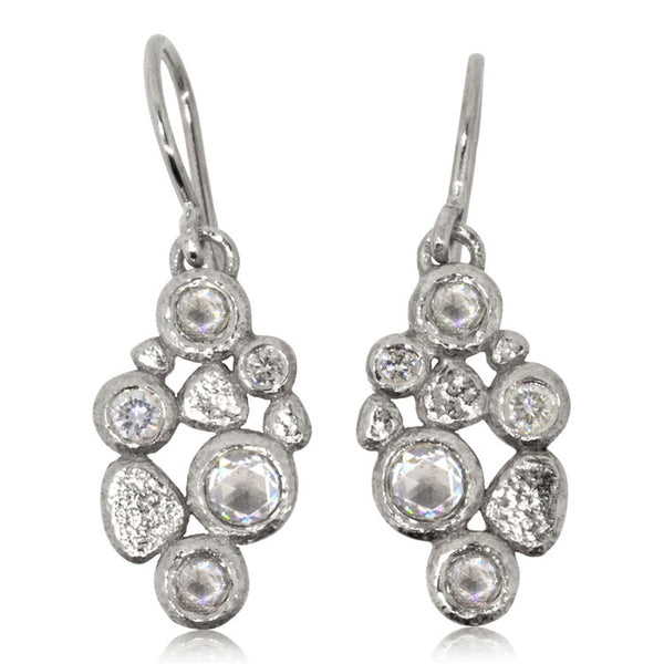Cascading Pebbles Earrings in Palladium