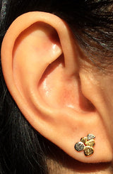 Rock Pile Post Earrings in 18K yellow gold and palladium ear
