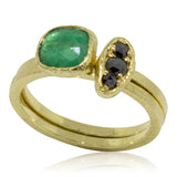 stack rings emerald and black diamond puddle ring