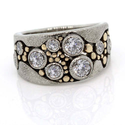 Wide Multi-Diamond River Pebbles Ring