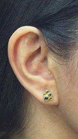 Green Tourmaline Cluster Stud Earrings