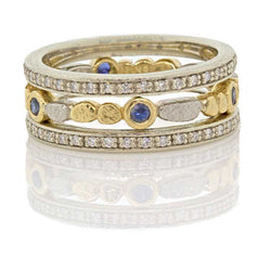 Skinny Pebbles Sapphire Stack Ring with Eternity Bands