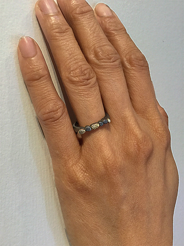 Sculpted Thin Ring on hand