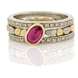 Skinny Pebbles Ruby Stack Ring with Eternity Bands