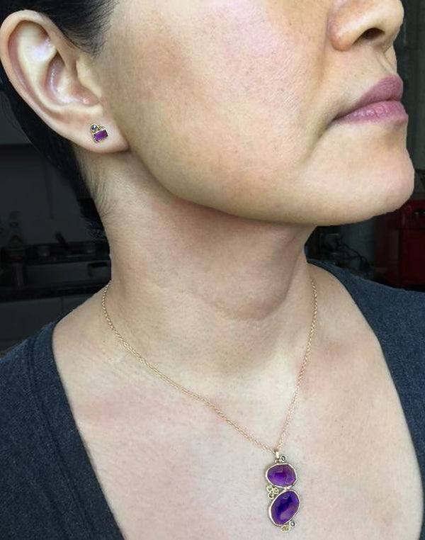 Cascading Amethyst Pendant on neck