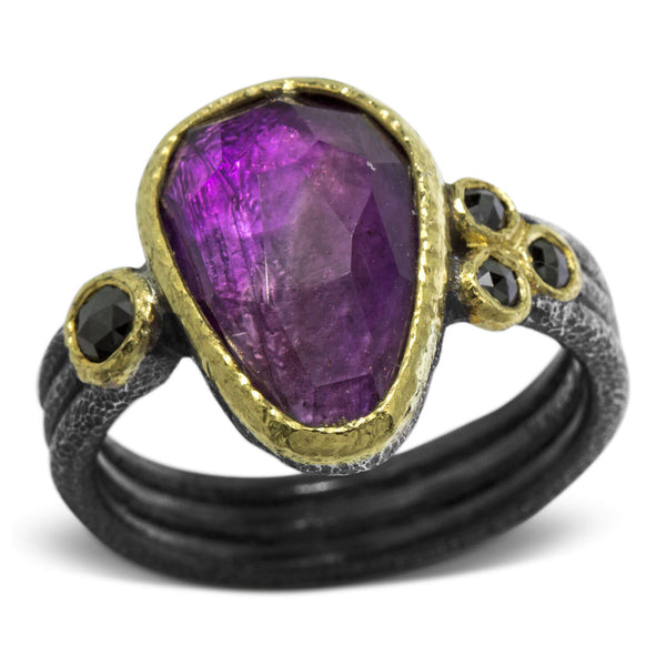 Delicate Triple Band Ring with Free form Amethyst