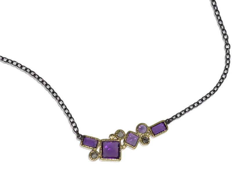Geo Amethyst Necklace with Diamonds