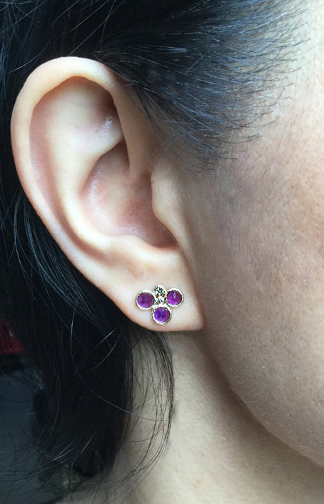 Trio Round Amethyst Stud Earrings