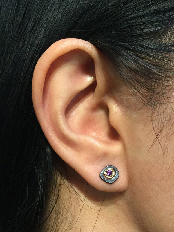 Amethyst Stud earrings on ear