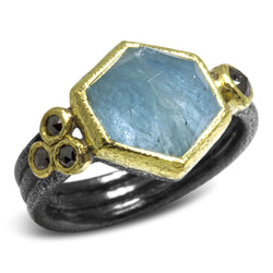 Delicate Triple Band Ring with Geo cut milky Aquamarine