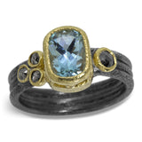 Delicate Triple Band Ring with Aquamarine