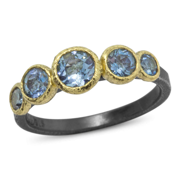 Stones and Pebble Ring with aquamarine