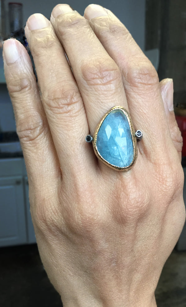 Ancient Pebble Aquamarine Ring