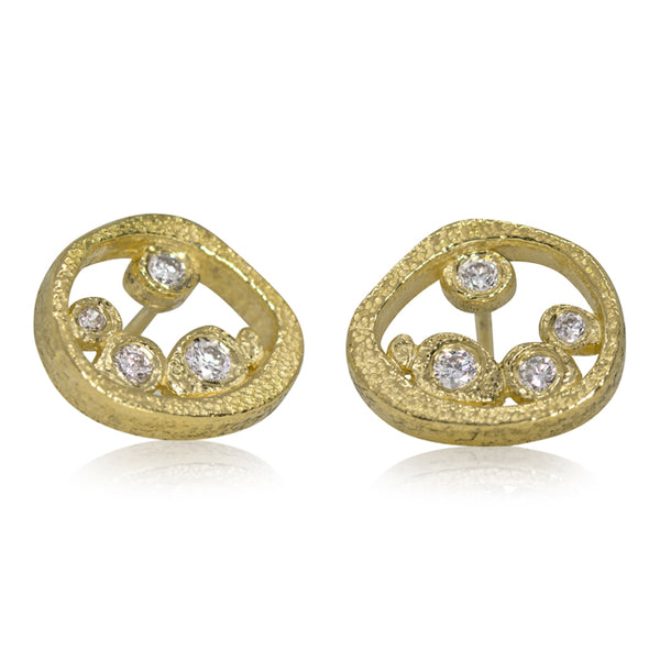 Tossed Pebbles open ear posts in 18K gold with diamonds