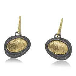 Concave Pebble dangle earrings in 18k Yellow gold
