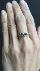Stones and Video of Pebble Ring with Salt & Pepper Diamonds