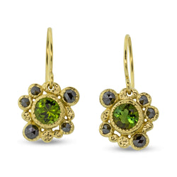 Green Tourmaline Earrings with Black Diamonds