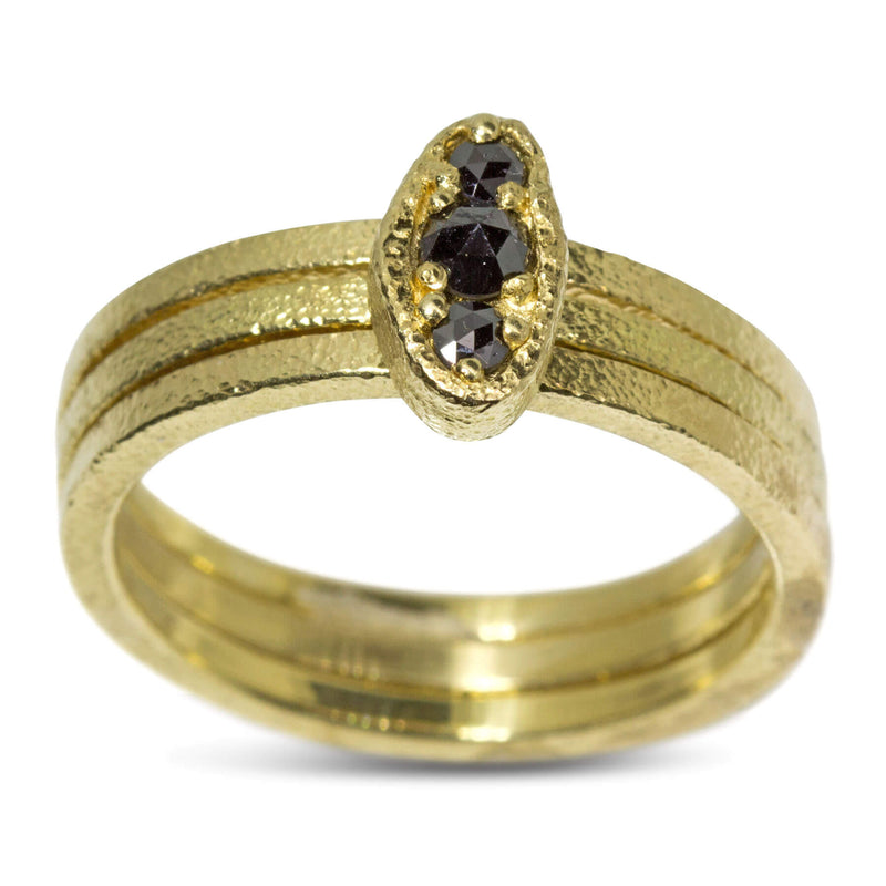 Black Diamond Puddle Ring