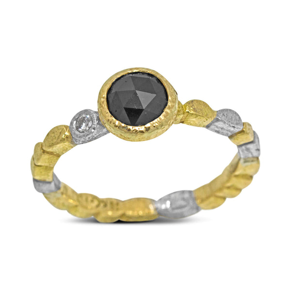 Skinny Pebbles Black Diamond Ring