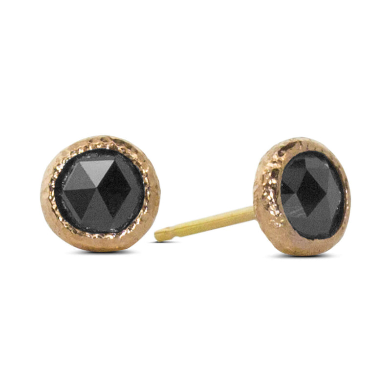 Round Black Diamond Stud Earrings created in 18k rose gold.