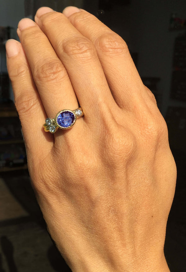 Purple Blue Spinel Ring with Diamonds