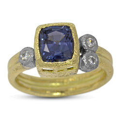 Double Band Blue Spinel Ring with diamonds