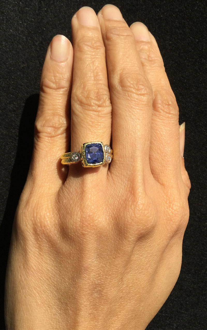 Double Band Blue Spinel Ring hand