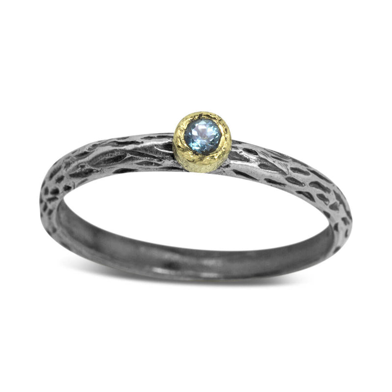 Cactus Texture Ring with blue topaz