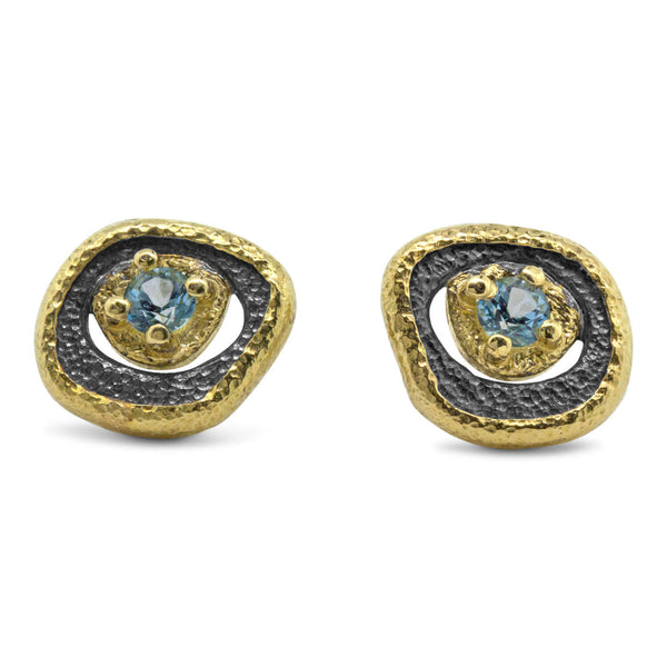 Blue Topaz Pebble Stud Earrings with Gold Frame