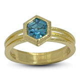 Blue Zircon Ring in 18k yellow gold