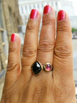 Hand Round Pink Tourmaline Black Spinel Stacking Rings