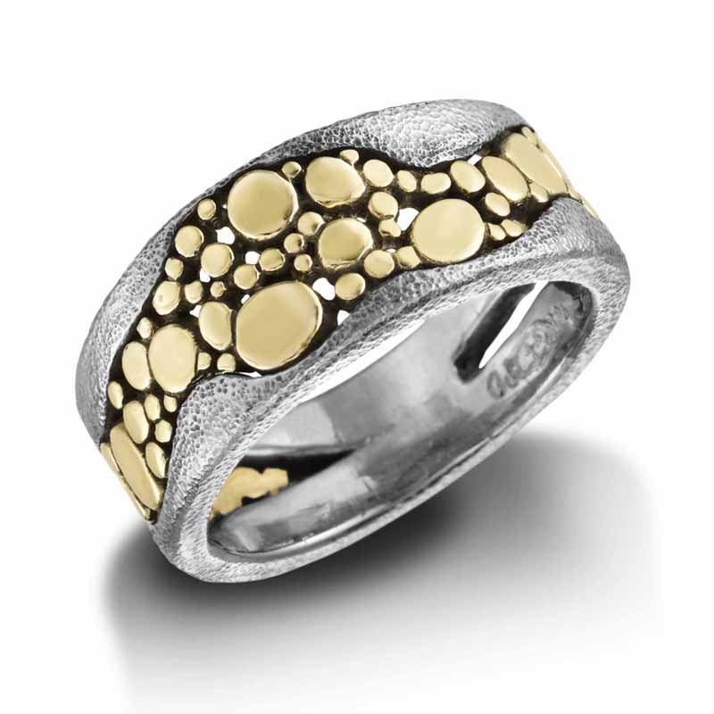 River Pebbles Ring in palladium and 18k gold