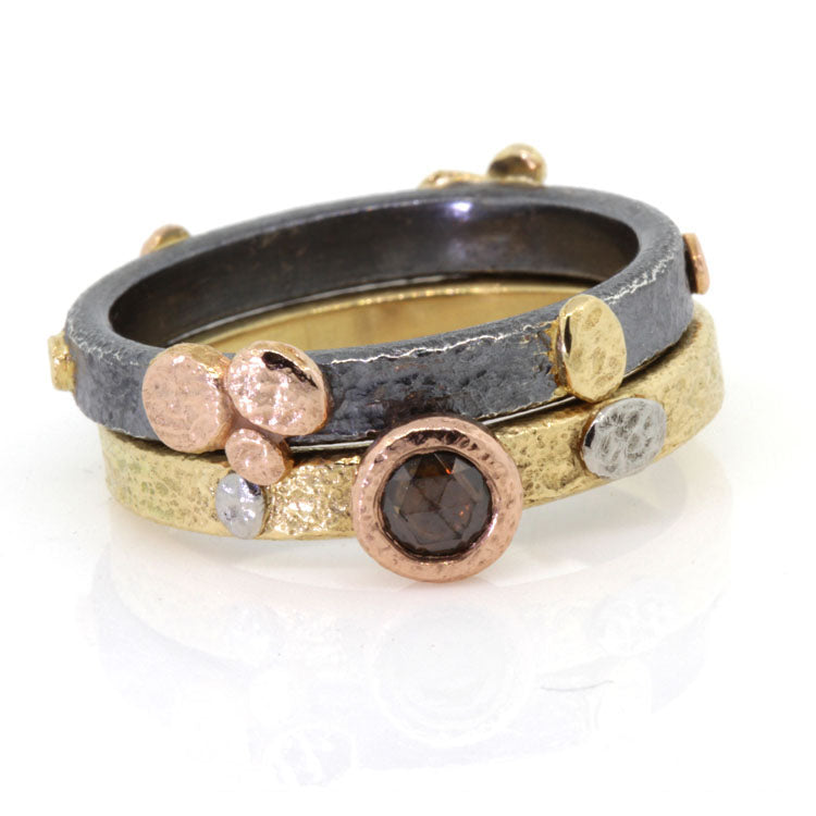 Textured Pebbles Stack Ring Set with Cognac Diamond