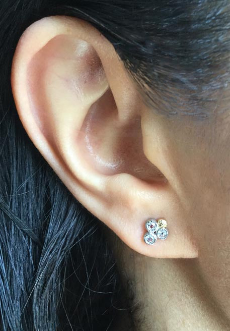 Trio Rose Cut Diamond Stud Earring worn on ear