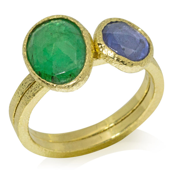stack rings emerald sapphire