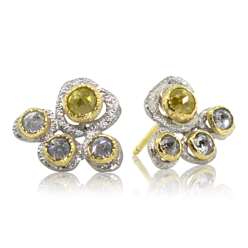 Four Diamond Stud Earrings with rustic yellow and grey diamonds
