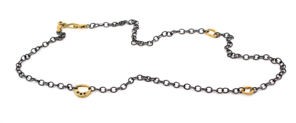Black Diamond Cable Necklace with Open Pebbles