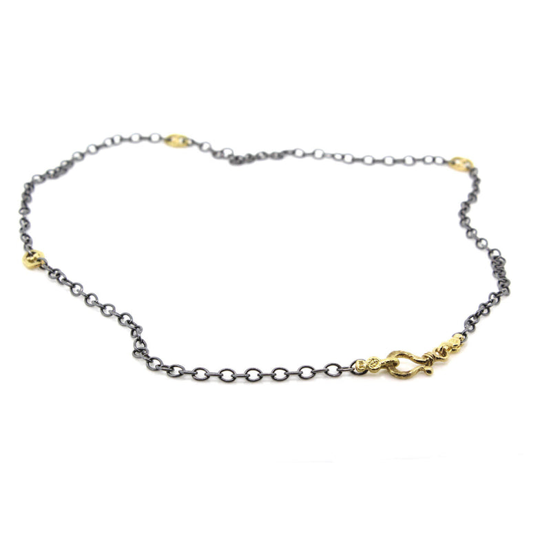 Open Pebble Cable Chain Necklace