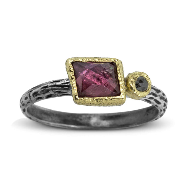 Cactus Texture Ring with Free Form Rose Cut Rhodolite Garnet and Diamond