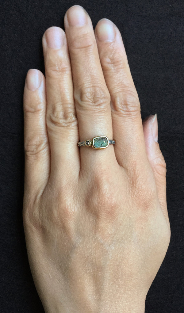 Cactus Texture Ring with Free Form Rose Cut Green Tourmaline & Diamond on hand
