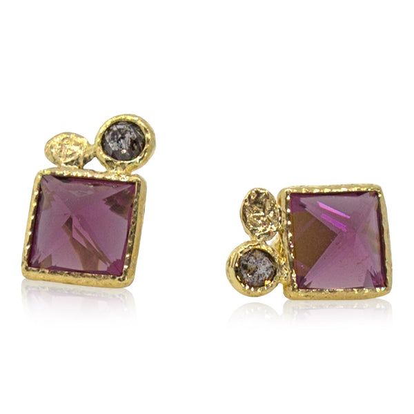 Square rhodolite and rose cut grey diamond stud earrings