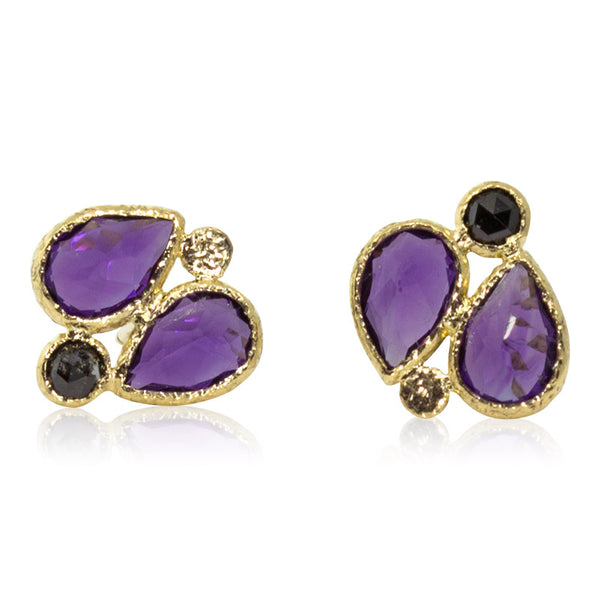 Double Pear Amethyst Stud Earrings