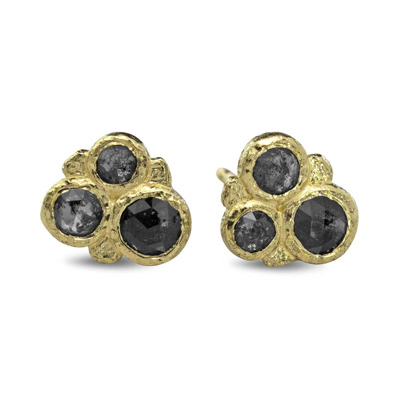 Salt and Pepper Cluster Stud Earrings