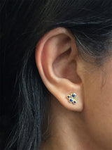 Sapphire Cluster Stud Earrings on ear