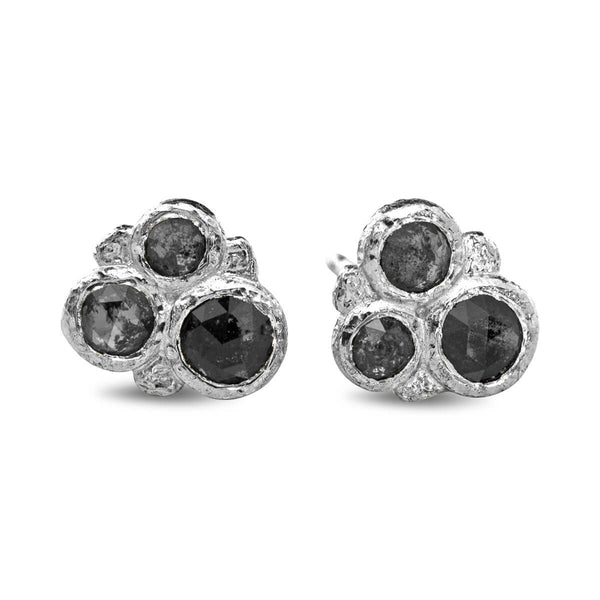 Salt and Pepper Diamond Cluster Stud Earrings in Sterling Silver