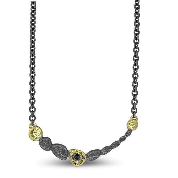 Pebble Curved Bar Necklace with diamond