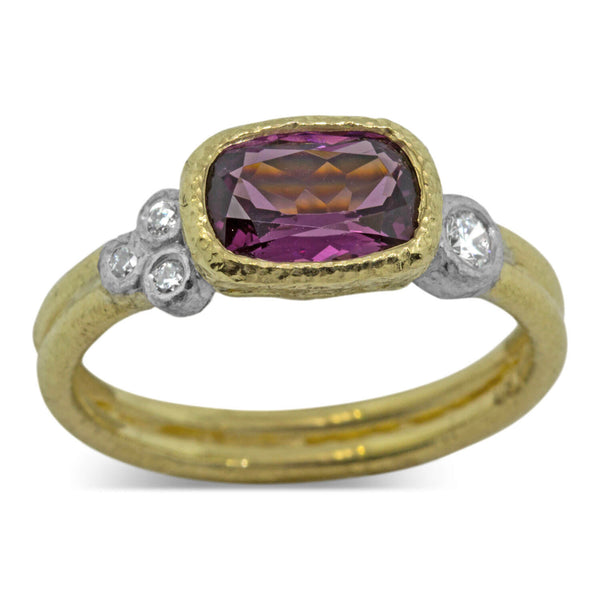 Delicate Double Band Raspberry Spinel Ring