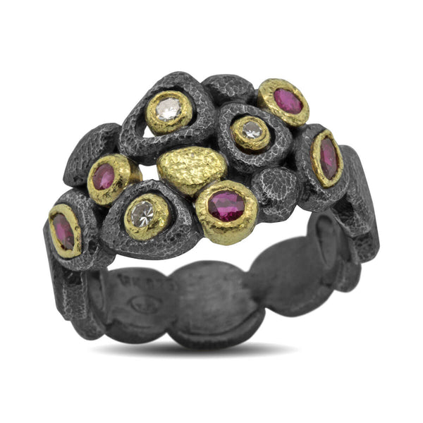 Custom Cascading Pebbles Ring with diamonds and rubies