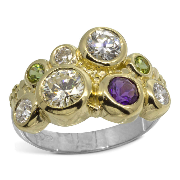 Custom Diamond Ring with Peridot and Amethyst