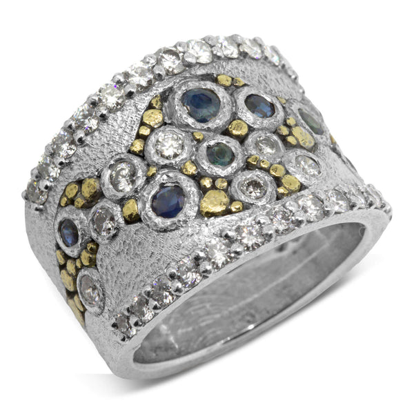 Custom River Pebbles Diamond Ring with Sapphires